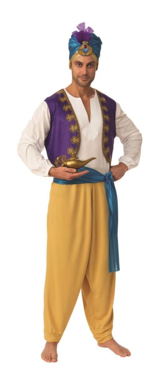 Aladdin-GENIE-Sultan-Unisex Nuova Arabian Genie con Red Hat Costume