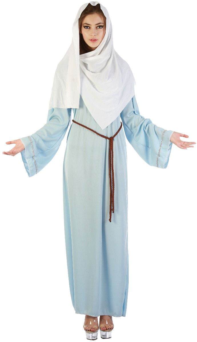 Girls Virgin Mary Christmas Xmas Nativity School Play Fancy Dress Costume Outfit