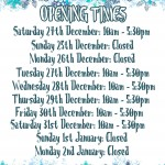 Opening Times for Christmas 2016 & New Year!