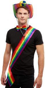 Men/'s Rainbow Stetson Fancy Dress Cow Hat /& Angel Wings Stag Theme LGBT Pride Do